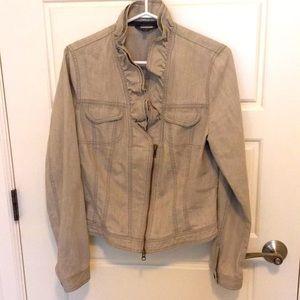 Sandwich grey denim jacket with ruffled collar